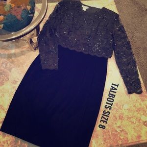 Talbots Lace Sequin & Velvet Cocktail Dress Size 8